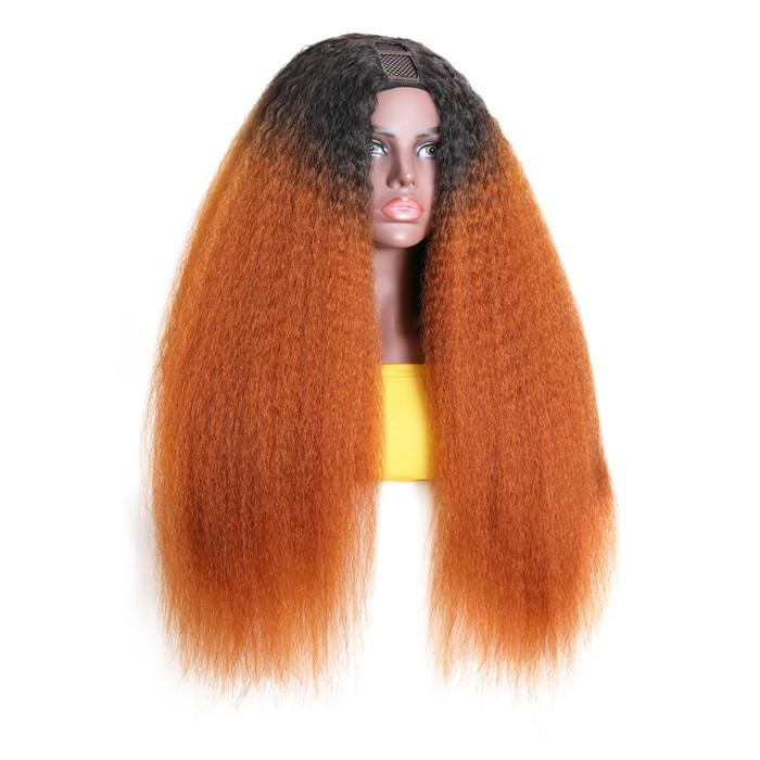 16Inch Ginger Orange Ombre Kinky Straight U Part Wig 150% Density