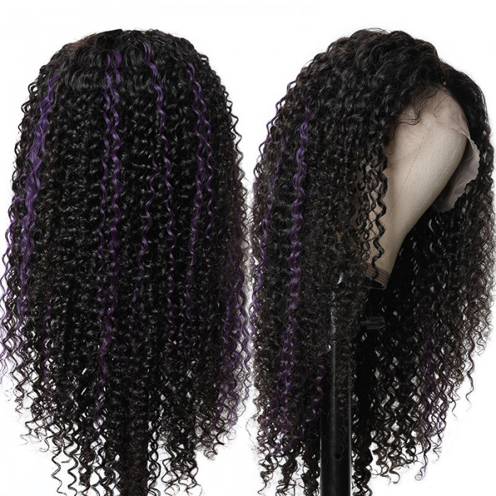 UNice Ombre #1B/Purple 13x4 Lace Front Curly Human Hair Wig Pre Plucked Hair Line Bleached Knots Bettyou Series