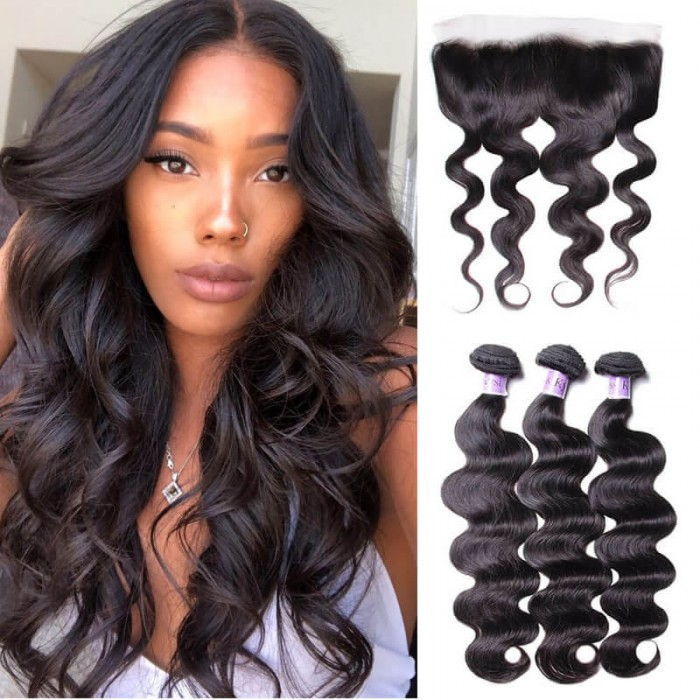 UNice Hair Kysiss Series 3pcs Body Wave Hair Weft With Lace Frontal Closure