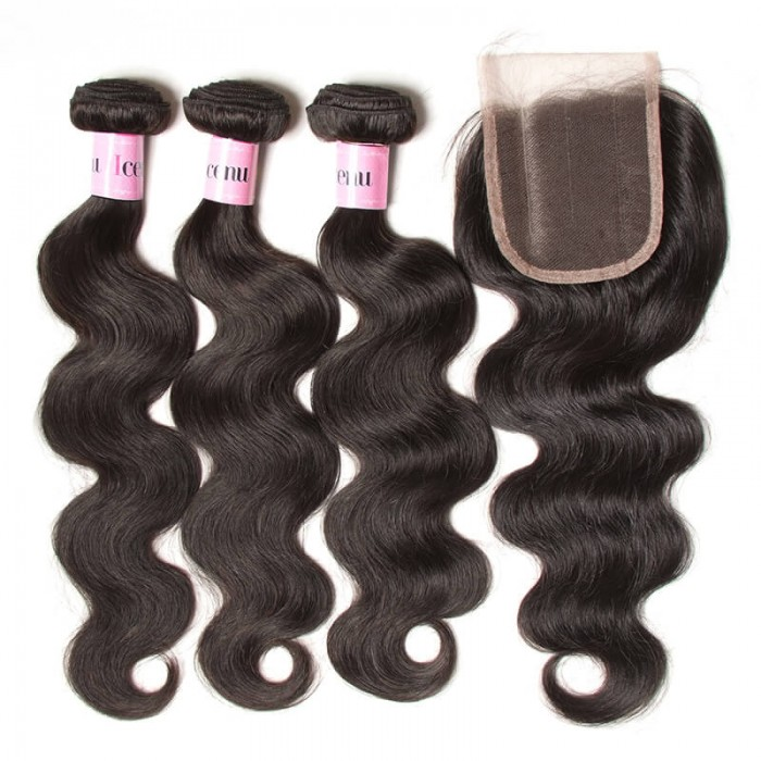 UNice Hair Icenu Series Peruvian Body Wave Lace Closure With 3pcs Human Hair Weave