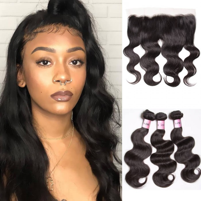UNice 3 Bundles And Closure Body Wave Frontal Hair Closure