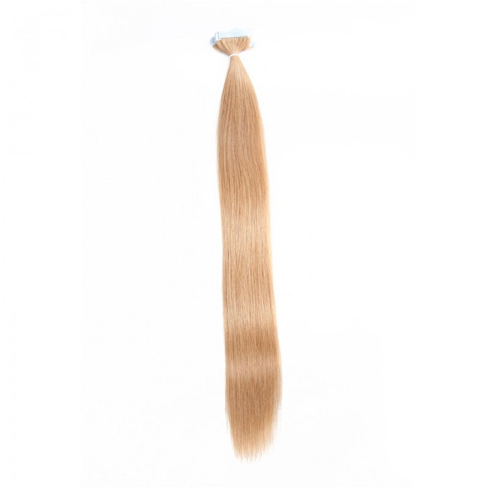 UNice 20pcs 50g Straight Tape In Hair Extensions #27 Strawberry Blonde