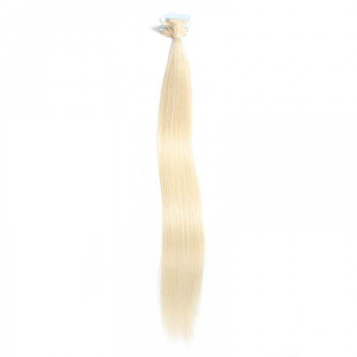 UNice 20pcs 50g Straight Tape In Hair Extensions #60 Platium Blonde 100% Virgin Hair