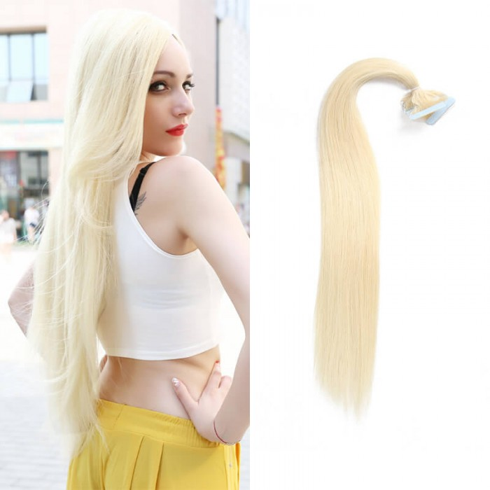 UNice 20pcs 50g Straight Tape In Hair Extensions #60 Platium Blonde