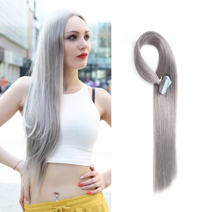 UNice 20pcs 50g Straight Tape In Hair Extensions #80 Grey