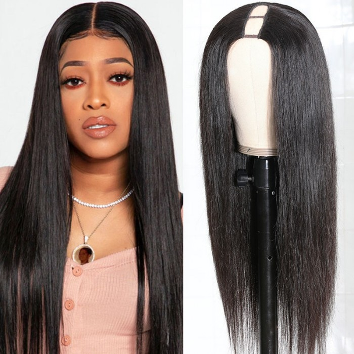 Unice Hair U Part Human Hair Wigs Brazilian Virgin Straight 150 Density Glueless Middle Part Wig Pre Plucked For Women Natural Color Bettyou Series