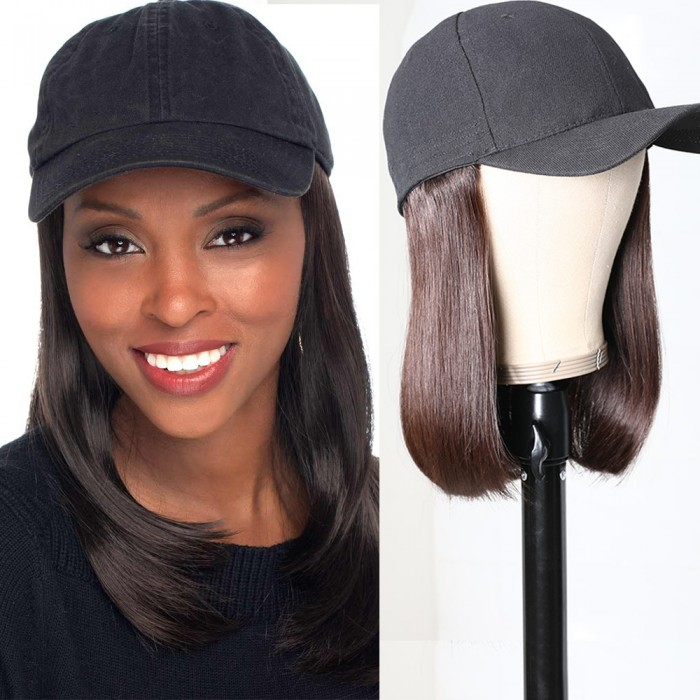 Unice Baseball Cap Wig Hat Natural Black Straight Wigs Naturally Connect Human Hair Hat Wig Adjustable For Girl Bettyou Series