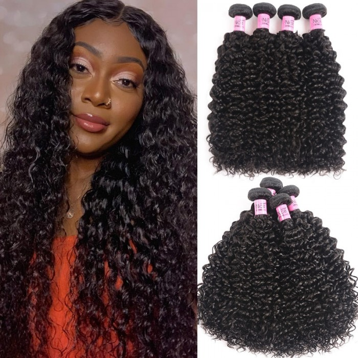 UNice Hair Icenu Series Malaysian Jerry Curly Human Virgin Hair 4 Bundles