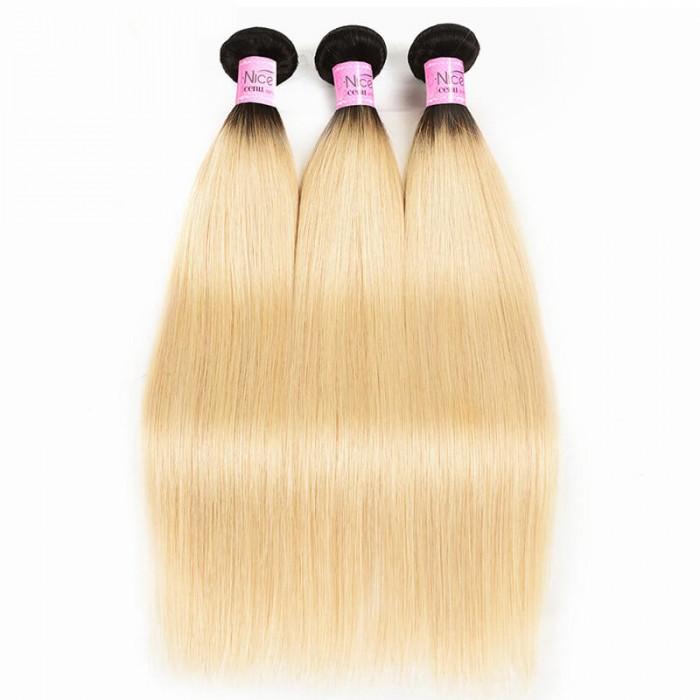 UNice Straight Hair 3 Bundles T1b/613 Color Ombre Hair 100% Virgin Human Hair Weaves