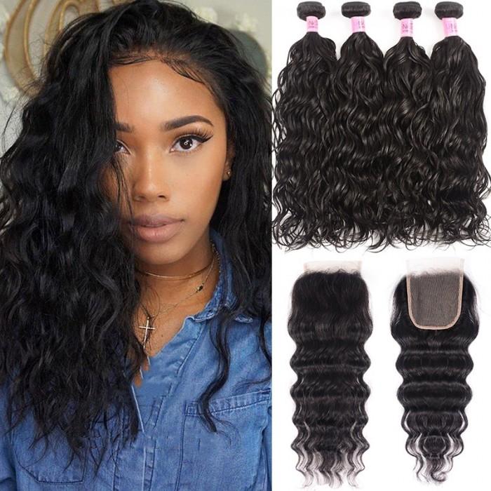 UNice Hair Icenu Series 4 Bundles Virgin Hair Natural Wave With Lace Closure