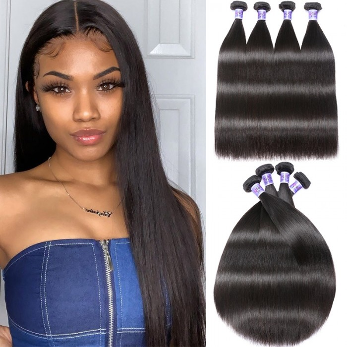UNice Virgin+ Brazilian Straight Hair 4 Bundles Virgin Human Hair Weave Kysiss Series
