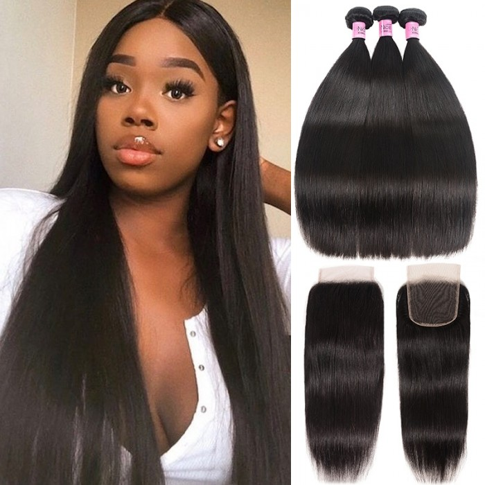UNice Hair Icenu Series 3pcs Malaysian Straight Virgin Hair Bundles With Lace Closure