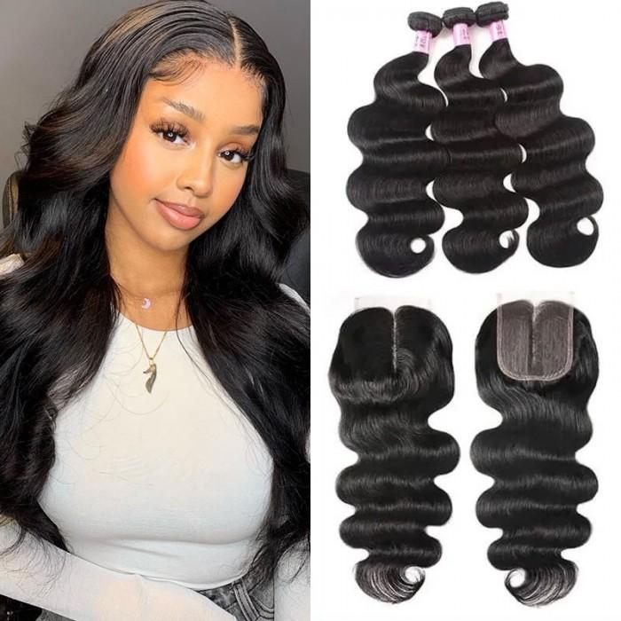 UNice Hair Icenu Series 3 Bundles Brazilian Body Wave With T Part Lace Closure