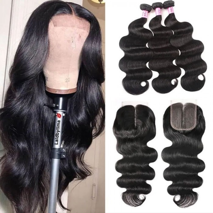 UNice Hair Icenu Series 3 Bundles Brazilian Body Wave With T Part Lace Closure