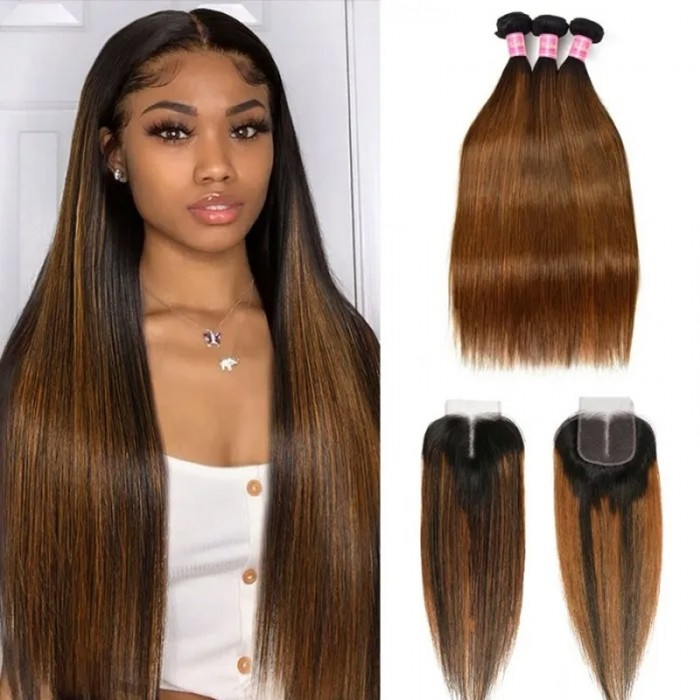 UNice 4x4 Lace Closure with 3 Bundles Straight Hair Brown Balayage Color