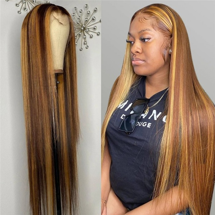 Honey Blonde HD Lace Wigs Human Hair Straight