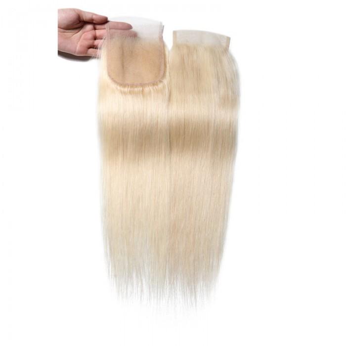 UNice 613 Blonde 4x4 Straight Virgin Human Hair Lace Closure Free Part