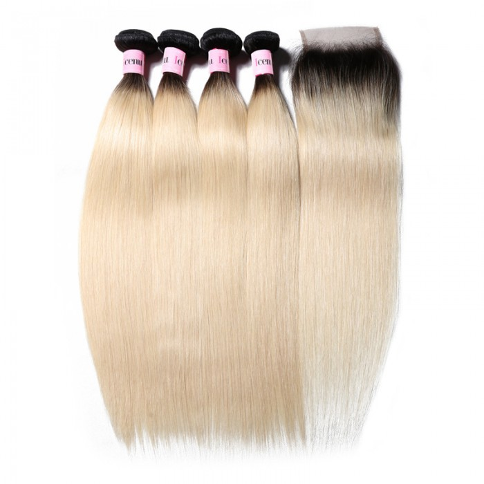 UNice 7A Virgin Hair 3 Bundles/Lot Straight 1b/613 Ombre Hair With Lace Closure