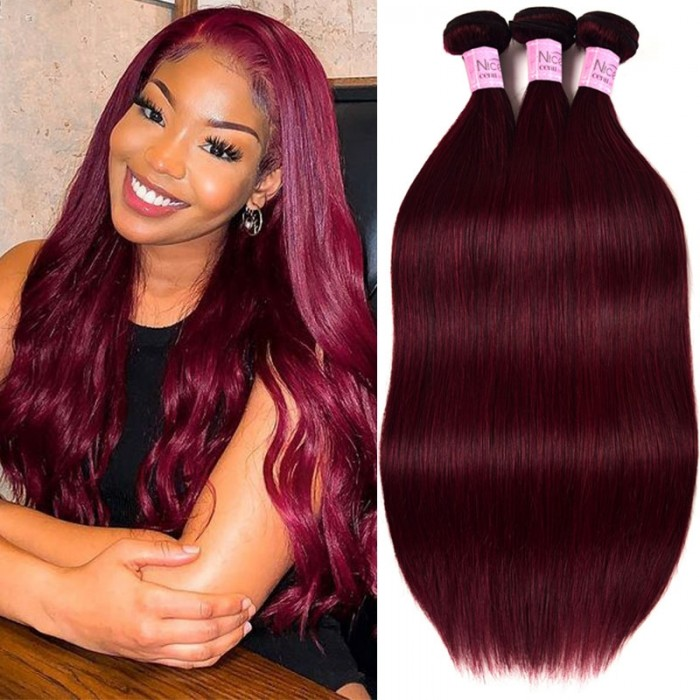 UNice 99j Straight Human Hair 3 Bundles 100g/Bundles Human Virgin Hair Red Wine Burgundy Color Hair Weave Icenu Series