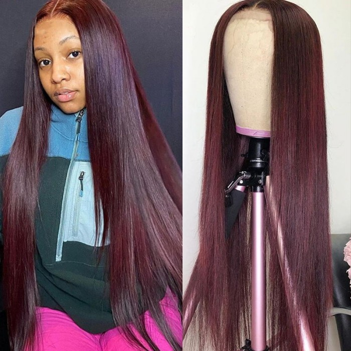 UNice 99J Straight Wig 13x4 Burgundy Lace Front Human Hair Wig Bettyou Series
