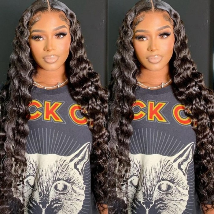 UNice Affordable Deep Wave Glueless T-Part Lace Front Human Hair Wig