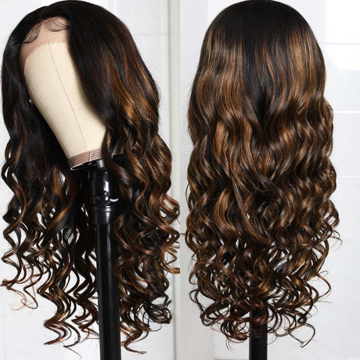 Flash Sale Balayage #FB30 Body Wave Lace Front T Part Wig 16 Inch Shadow Root Bronde Highlight Wigs