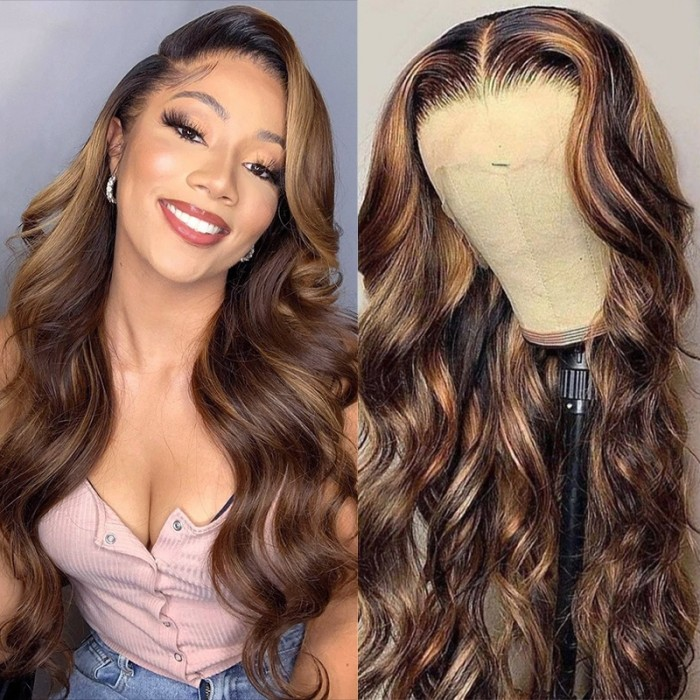 Chestnut-Toned Balayge Body Wave 13 by 4 Lace Front Wig 150% Density Preplucked With Baby Hair