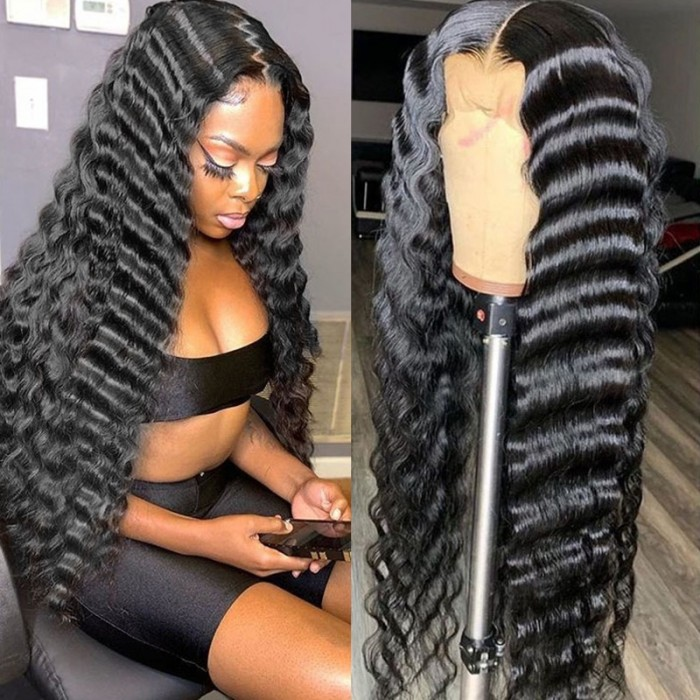 UNice Black Deep Wave Pre Plucked Lace Front Human Hair Wigs With Baby Hair