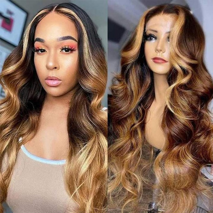 UNice Blonde Money Piece Balayage Loose Wave Lace Wig with Face Framing Highlight
