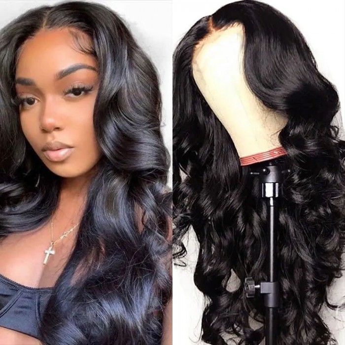 UNice Body Wave HD Invisible Lace Front Human Hair Wigs 13x4 Natural Color Pre Plucked Bleached Knots 180% Density