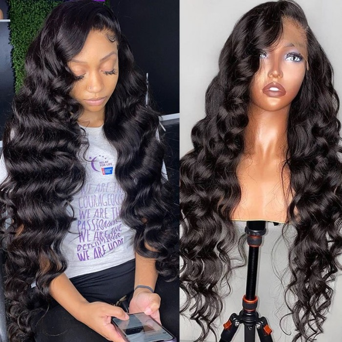 UNice Body Wave HD Invisible Lace Front Human Hair Wigs 13x4 Natural Color Pre Plucked 180% Density