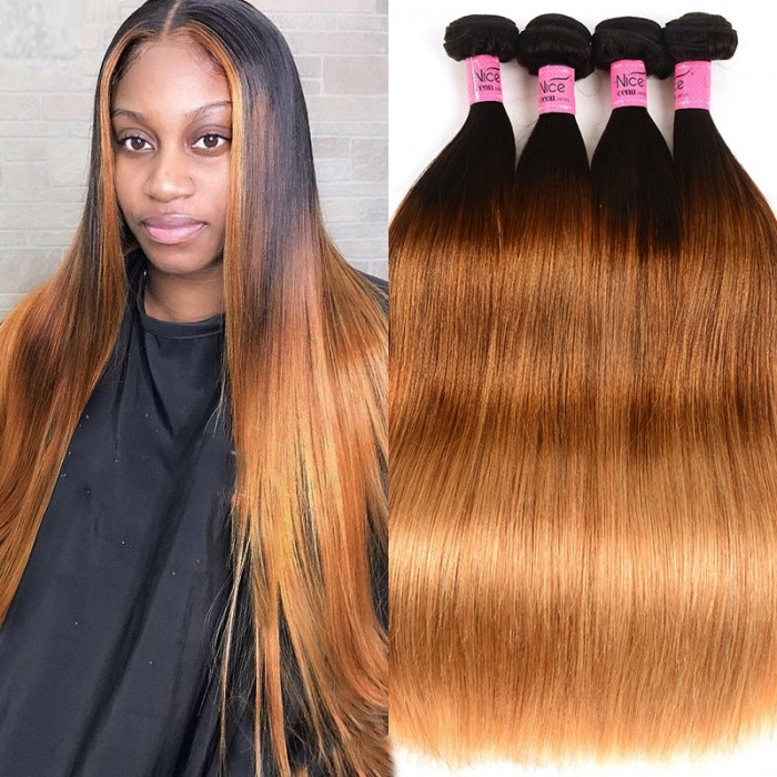 UNice Hair Icenu Series 4Pcs/Lot Three Tone Ombre Brazilian Straight Virgin Hair