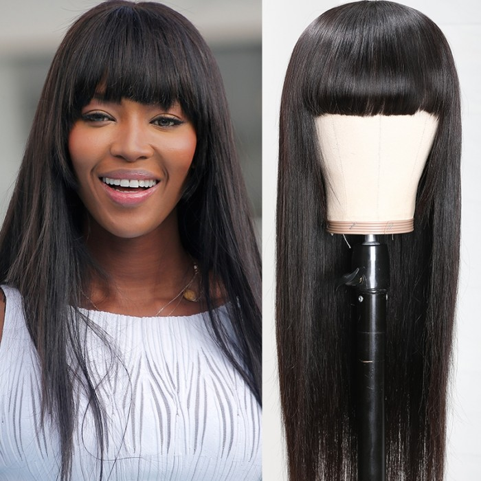 UNice Neat Bang Black Straight Human Hair Wigs with Bangs 150% Density Machine Made Virgin Remy Hair Wig Bettyou Series