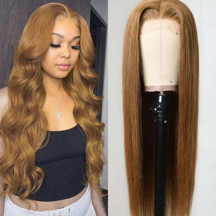 UNice Colored Light Ash Brown Straight Human Hair Wig Updated Lace Part Wig #8 Color Bettyou Series