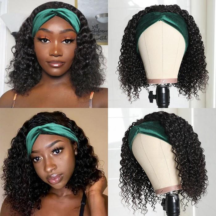 UNice Curly Headband Wig Human Hair for Women Glueless Natural Black Wig With Headband Bettyou Series