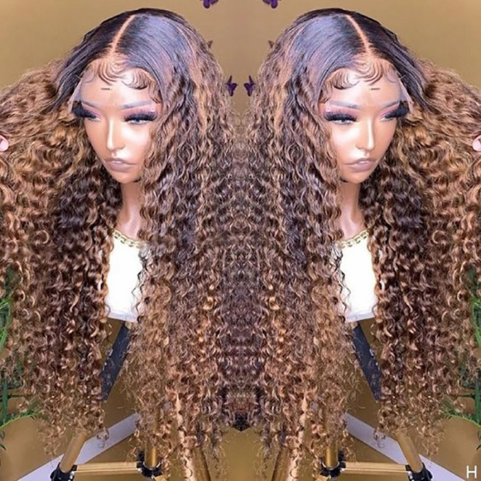 UNice Dark Brown Balayage Highlights Jerry Curly Lace Front Wig