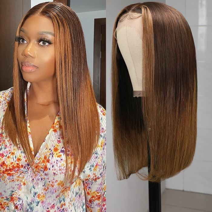 UNice Dark Brown to Blonde Highlight 13 By 4 Lace Front Wigs for Women Ombre Colored Straight Human Hair Wig