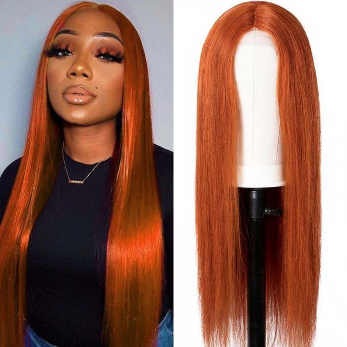 UNice Dark Ginger Orange Straight Human Hair Middle Part Lace Wigs