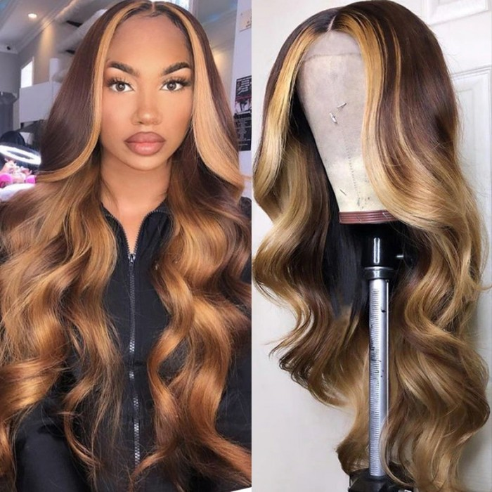 UNice Blonde Balayage Loose Wave Lace Wig with Face Framing Highlight