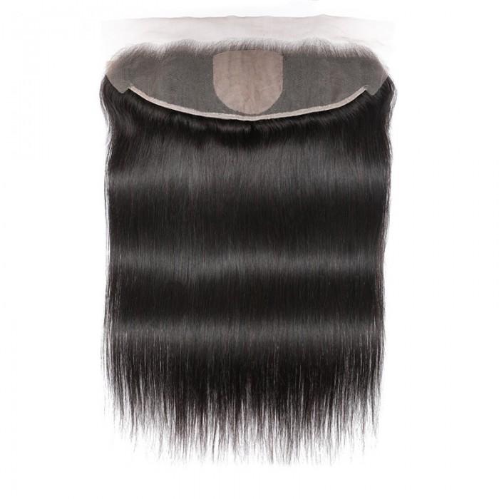 UNice Straight Silk Base Frontal 13x4 Fake Scalp Human Hair Natural Color