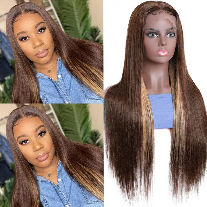 UNice Fashion Highlight Wig Pre-plucked 13x4 Lace Front Wig D427 Straight Hair Wig Bettyou Series