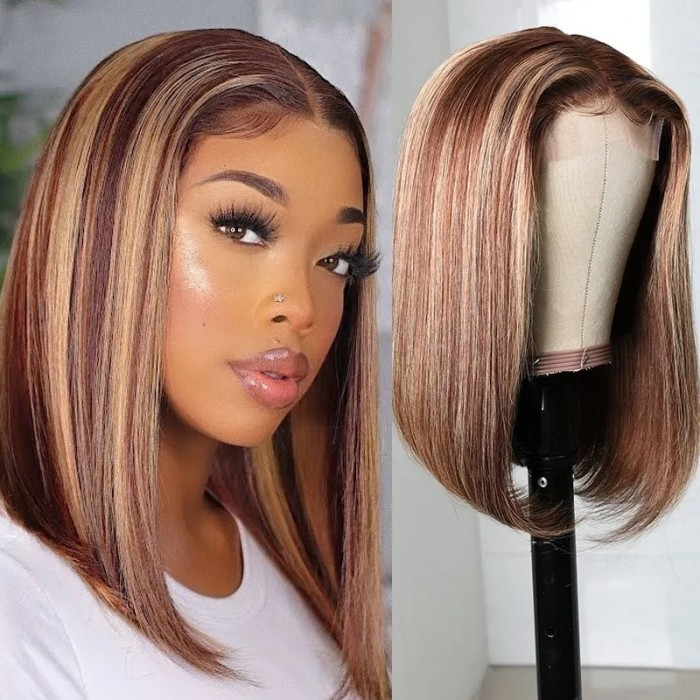 UNice Fashion Straight Short Bob Wigs TL412 Highlight Lace Part Wig 150% Density Bettyou Series