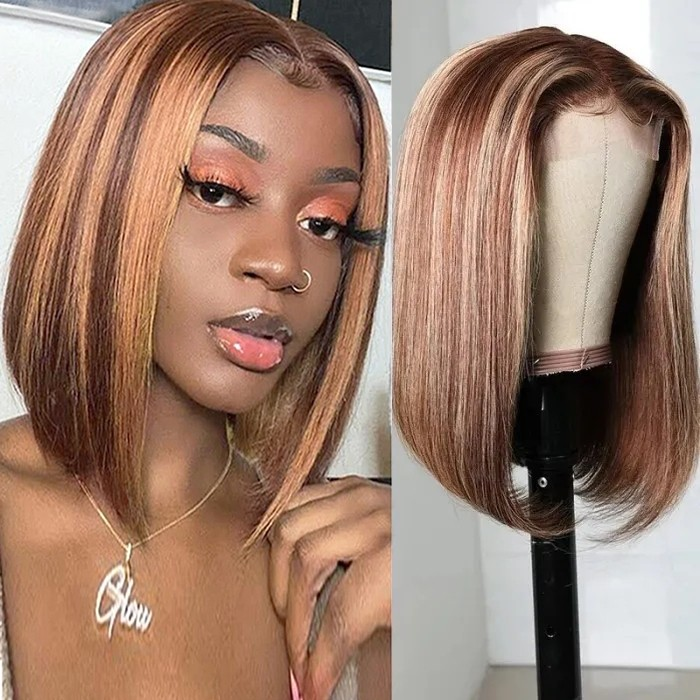 UNice Selected Fashion Straight Short Bob Wigs TL412 Highlight Lace Part Wig 150% Density Bettyou Series