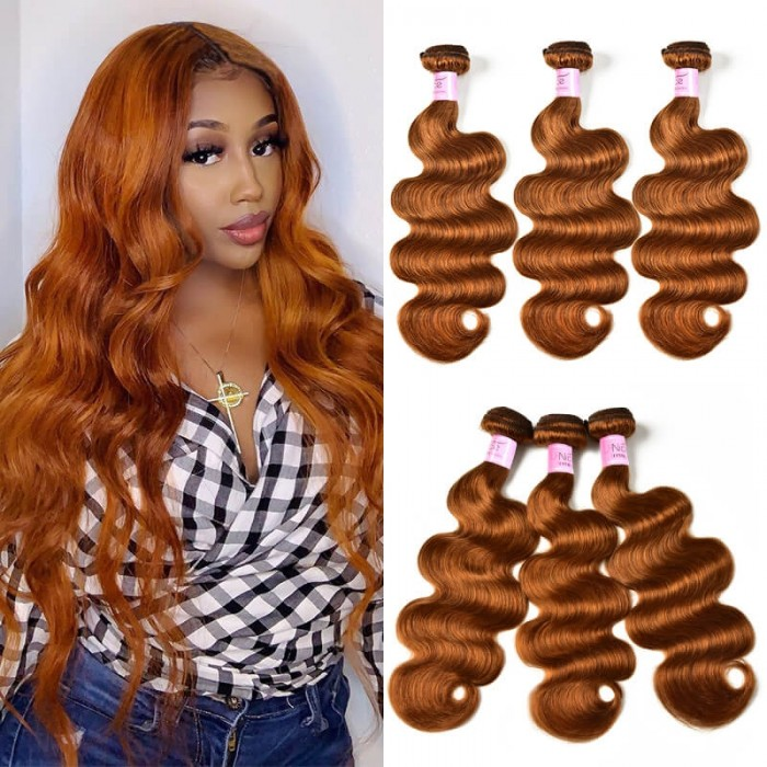 UNice Gentle Human Hair Weave Novel Color #30 Body Wave Hair 3 Bundles Icenu Series