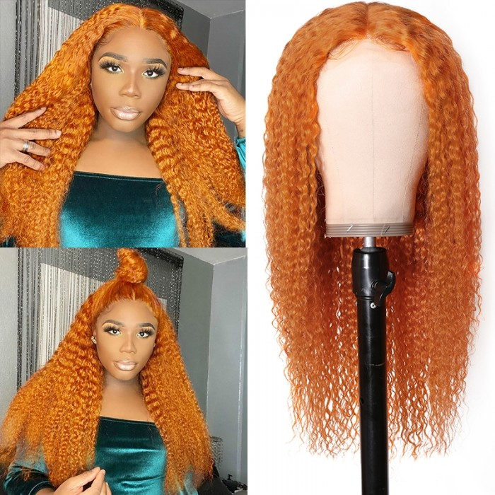 UNice Ginger Color Middle Part Lace Part Wig Jerry Curly Human Hair Colored Wigs Bettyou Series