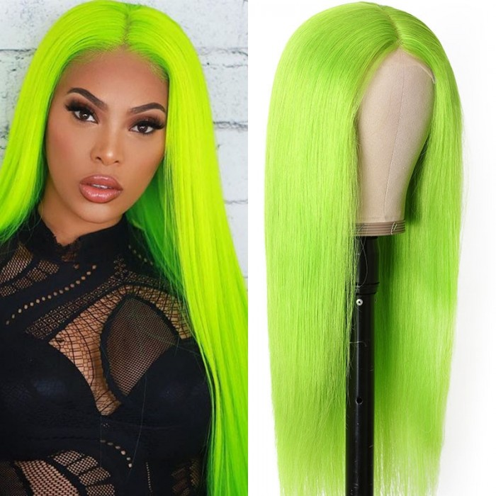 UNice Green Chartreuse Long Straight Hair Middle Lace Part Wigs