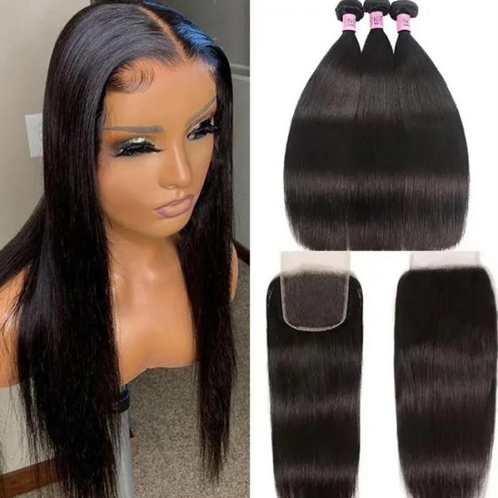 Unice Hair 3 Bundles Brazilian Virgin Hair Straight With Closure