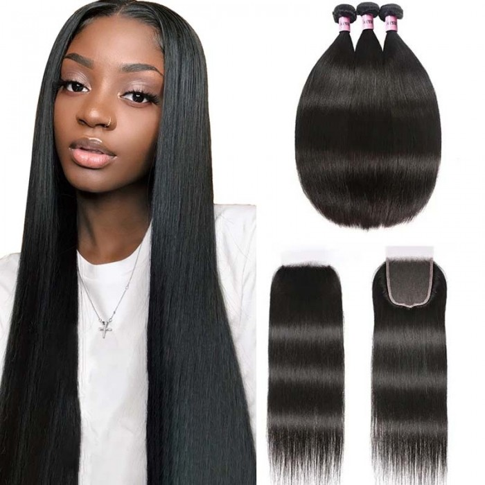 UNice Hair 3 Bundles Peruvian Straight Hair Weft With HD Closure Icenu Series