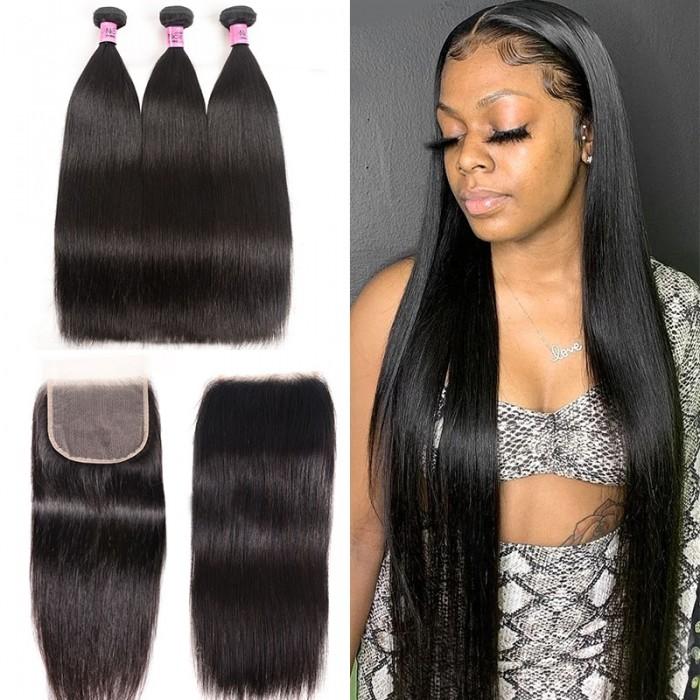 UNice Hair 3 Bundles Peruvian Straight Hair Weft With HD Closure Icenu Series