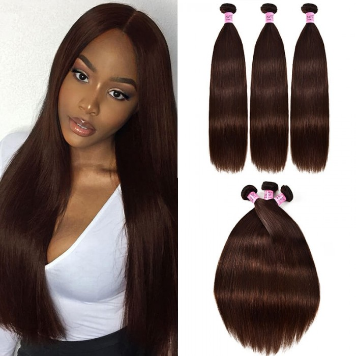 UNice Hair 3pcs/pack Virgin Straight Hair Bundles Brown Color Double Machine Weft Human Hair for Sale Icenu Series
